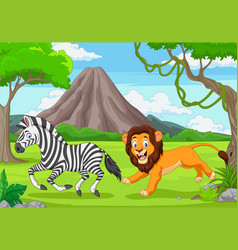 Lion is chasing a zebra in an african savanna vector