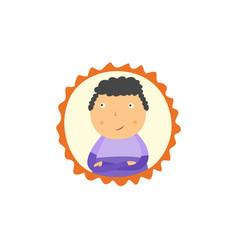 little boy with crossed arms looking up vector image