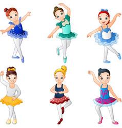little girl ballerinas dancing collection set vector image