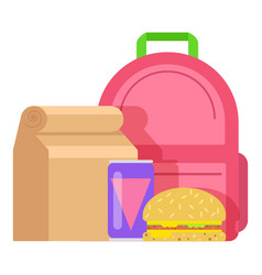 Lunch box kid icon flat style vector