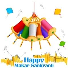 Makar Sankranti wallpaper with colorful kite vector image