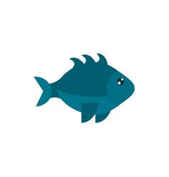 Marine life gray fish cartoon sea fauna animal vector