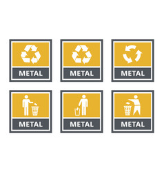 Metal recycling labels set waste sorting icons vector