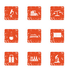 microanalysis icons set grunge style vector image