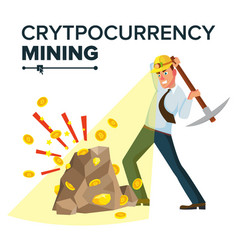 Miner young male mining gold coins vector