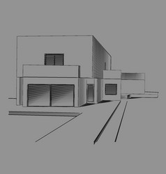 modern house sketch vector image