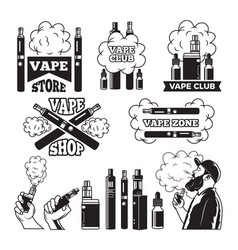 Monochrome labels set for vaping and smoking club vector