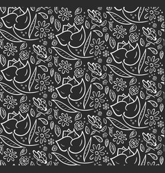 monochrome pattern with hand drawn flowers vector image