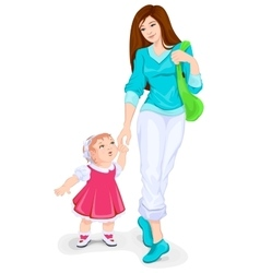 Mother and toddler walking Young mother and vector image
