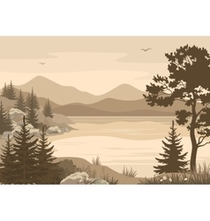 Mountains Landscapes Lake Trees and Birds vector
