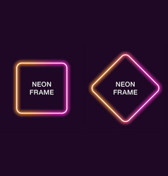 neon frame in square shape template vector image