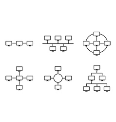 Network topology black and white vector