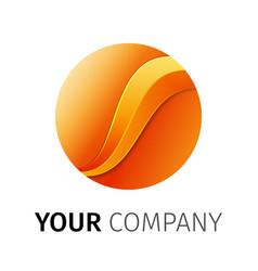 orange round logo design ribbon vector image