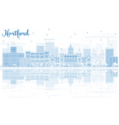 outline hartford skyline with blue buildings vector image