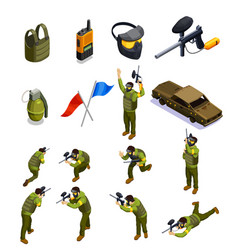 paintball isometric elements set vector image