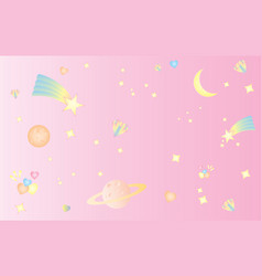 pattern star space sweet cute pastel pink vector image