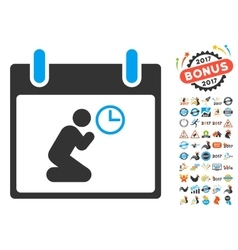Pray Time Calendar Day Flat Icon With Bonus vector image