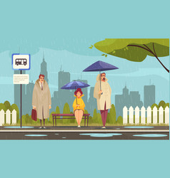 Rainy weather city composition vector