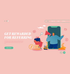 Referral program landing page template characters vector