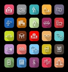 Retirement community line icons with long shadow vector image