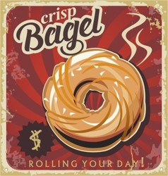 Retro pastry sign bakery bagel vector image