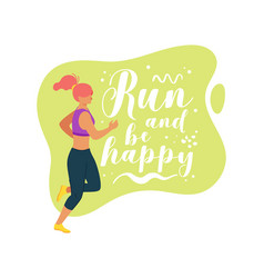 Run and be happy flat vector