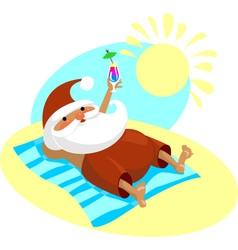 Santa on vacation vector image