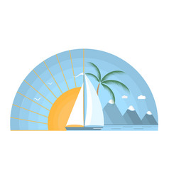 Sea sunrise with sailboat mountains and palm tree vector