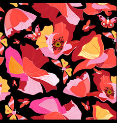 seamless bright pattern red gorgeous poppies vector image