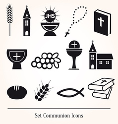 Set communion catholic icons vector