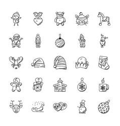 set cute christmas doodles vector image