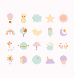 Set cute icons on a white background vector