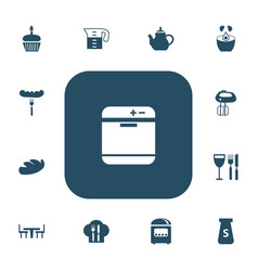 Set of 13 editable cooking icons includes symbols vector