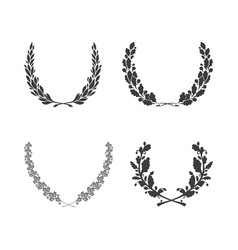 set of black and white circular foliate wreaths vector image
