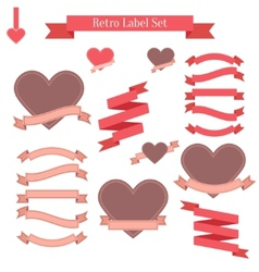 set retro labels ribbons banners and tags vector image