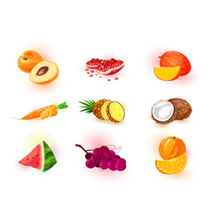 Set with fruits berries vegetable vector