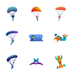 skydivers icon set cartoon style vector image