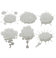Smoke cloud set explosion dust puff cartoon frame vector