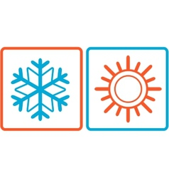 Snowflake and sun icons vector