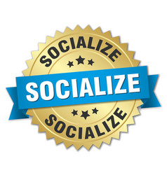 Socialize round isolated gold badge vector