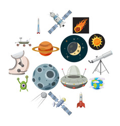 space icons set cartoon style vector image