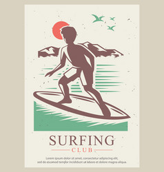 Surfing club retro poster design template vector