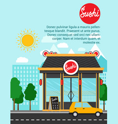 sushi advertising banner with shop building vector image