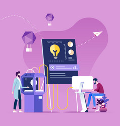 teamwork brainstorming process generating idea vector image