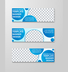 templates of horizontal banners with round and vector image