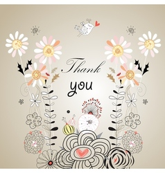 Thank you card with font vector