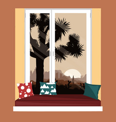 the sofa on window sill with mountains vector image