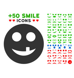 toothless smiley icon with bonus mood collection vector image
