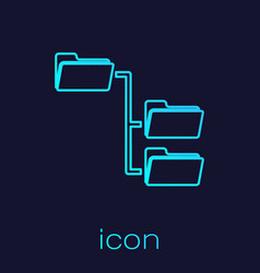 Turquoise folder tree line icon isolated on blue vector