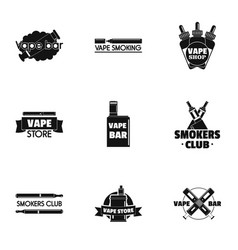 vape logo set simple style vector image